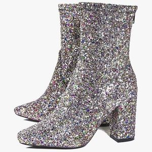 BOOHOO Block Heel Glitter Sock Boot Multicolor